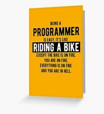 Tarjeta de felicitación Ser un programador es fácil. Es como andar en bicicleta - Funny Programming Jokes - Light Color