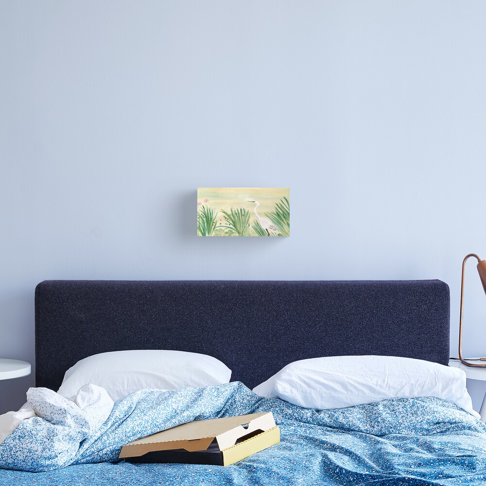 Egret & Lotus Canvas Print