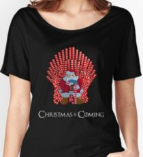 Christmas Is Coming Santa On Candy Cane Throne  Women's Relaxed Fit T-Shirt