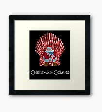 Christmas Is Coming Santa On Candy Cane Throne  Framed Print