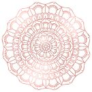 Rose Gold Hand Drawn Boho Mandala by Kelly Dietrich