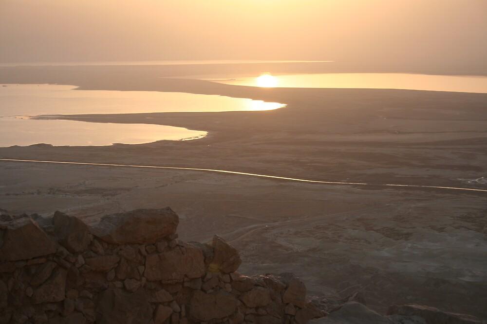 Sunrise from Masada - Dead Sea - Israel by Ilan Cohen