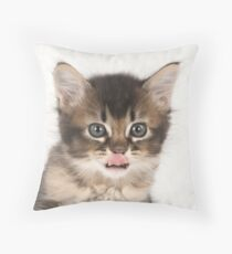 Cute Tabby Kitten with its tongue out Throw Pillow