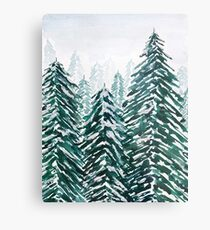 snowy pine forest green  Metal Print