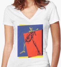 Pop Art Skeleton Rocker Women's Fitted V-Neck T-Shirt