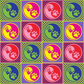 Yin Yang Paw Human Pop Art by retrorebirth