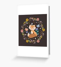 Little Princess Fox With Friends And Foliage Greeting Card
