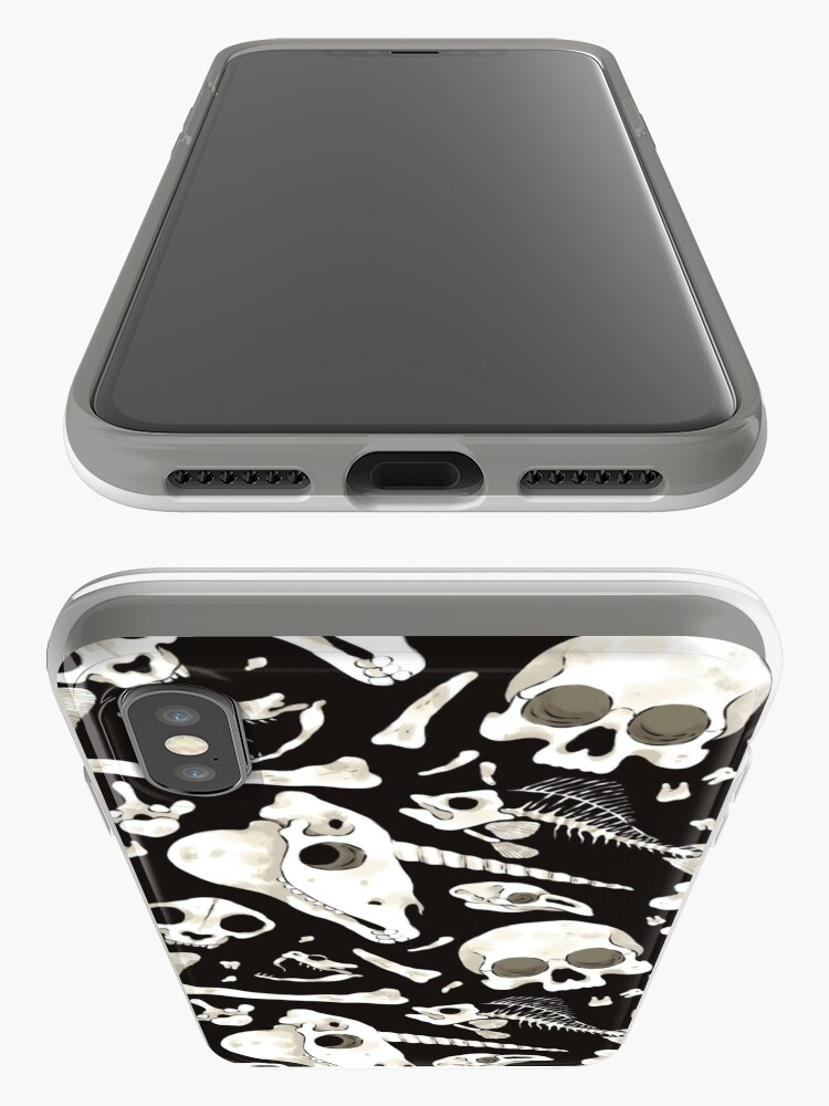 Alternate view of black Skulls and Bones - Wunderkammer iPhone Case & Cover
