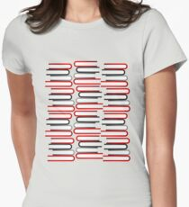 Abstract Book Stacks Women's Fitted T-Shirt