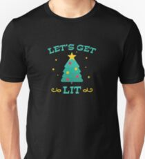 Let's Get Lit Funny Drunk Drinking Christmas Tree  T-Shirt