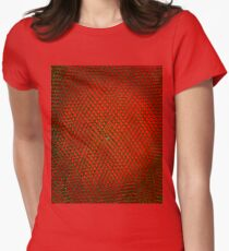 Net Art - 2 Layer - Green on Red Women's Fitted T-Shirt