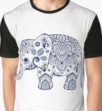 Blue Floral Elephant Illustration Graphic T-Shirt