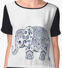 Blue Floral Elephant Illustration Women's Chiffon Top