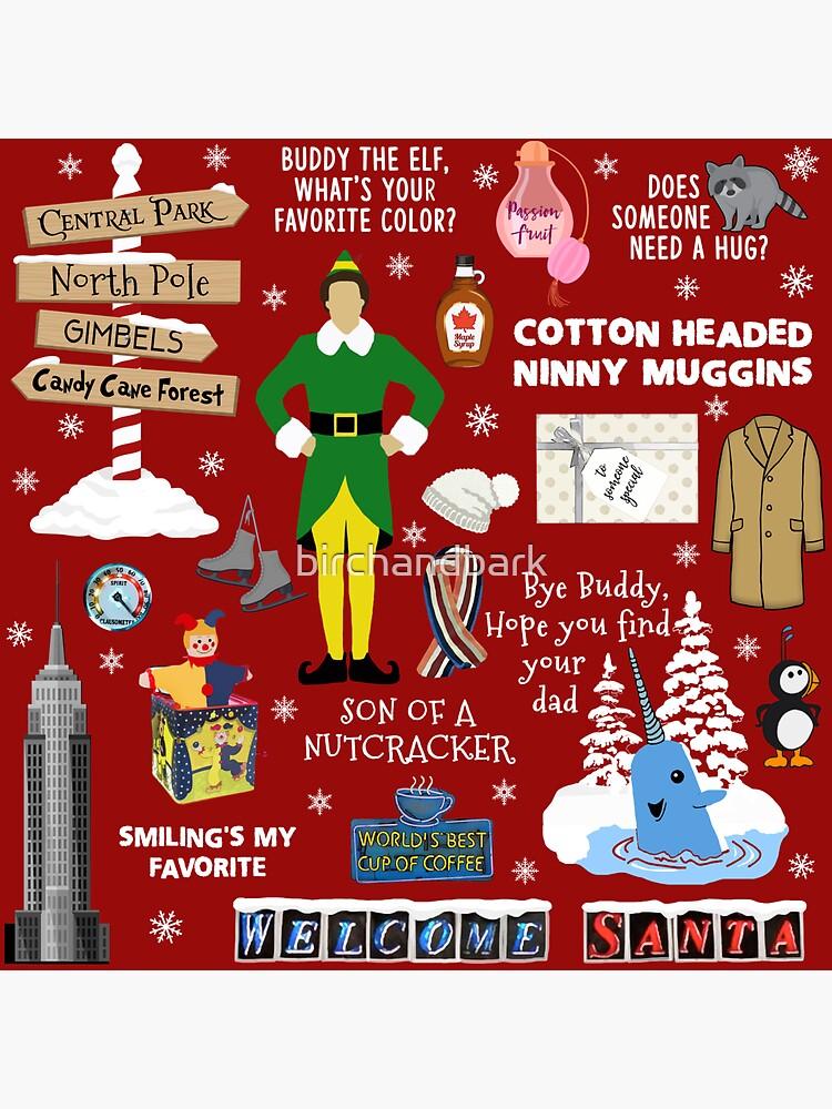 Buddy the Elf collage, Red background by birchandbark