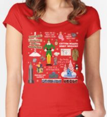 Buddy the Elf collage, Red background Women's Fitted Scoop T-Shirt