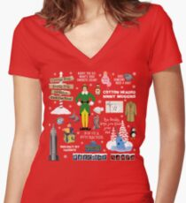Buddy the Elf collage, Red background Women's Fitted V-Neck T-Shirt