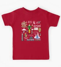 Buddy the Elf collage, Red background Kids Tee