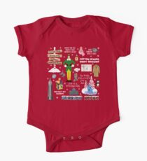Buddy the Elf collage, Red background Short Sleeve Baby One-Piece