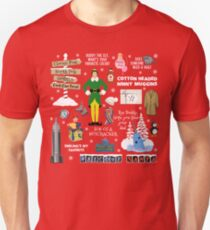 Buddy the Elf collage, Red background Unisex T-Shirt