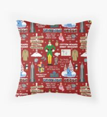 Buddy the Elf collage, Red background Throw Pillow