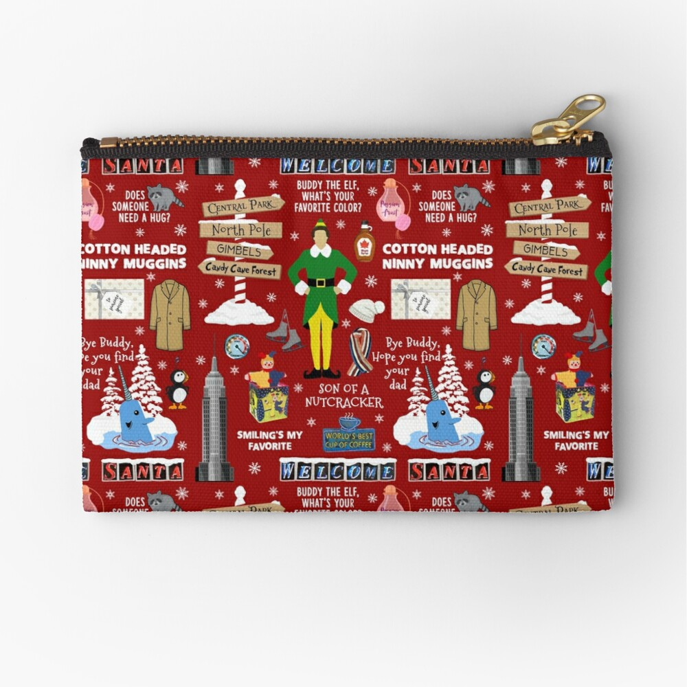 Buddy the Elf collage, Red background Zipper Pouch