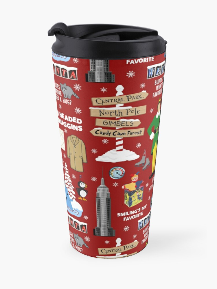 Alternate view of Buddy the Elf collage, Red background Travel Mug