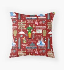 Buddy the Elf collage, Red background Floor Pillow