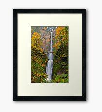 Multnomah Falls in Fall Season Colors OR USA Framed Print