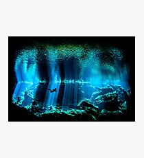 Cave Diving Scuba Diver Underwater Dive Photographic Print