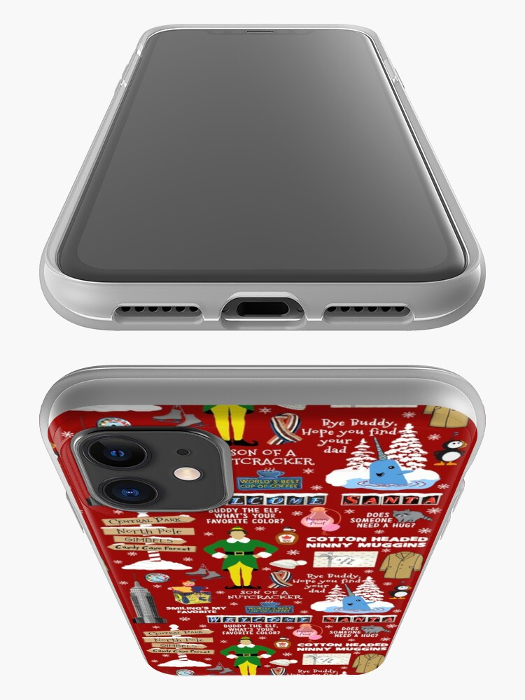 Alternate view of Buddy the Elf collage, Red background iPhone Case & Cover