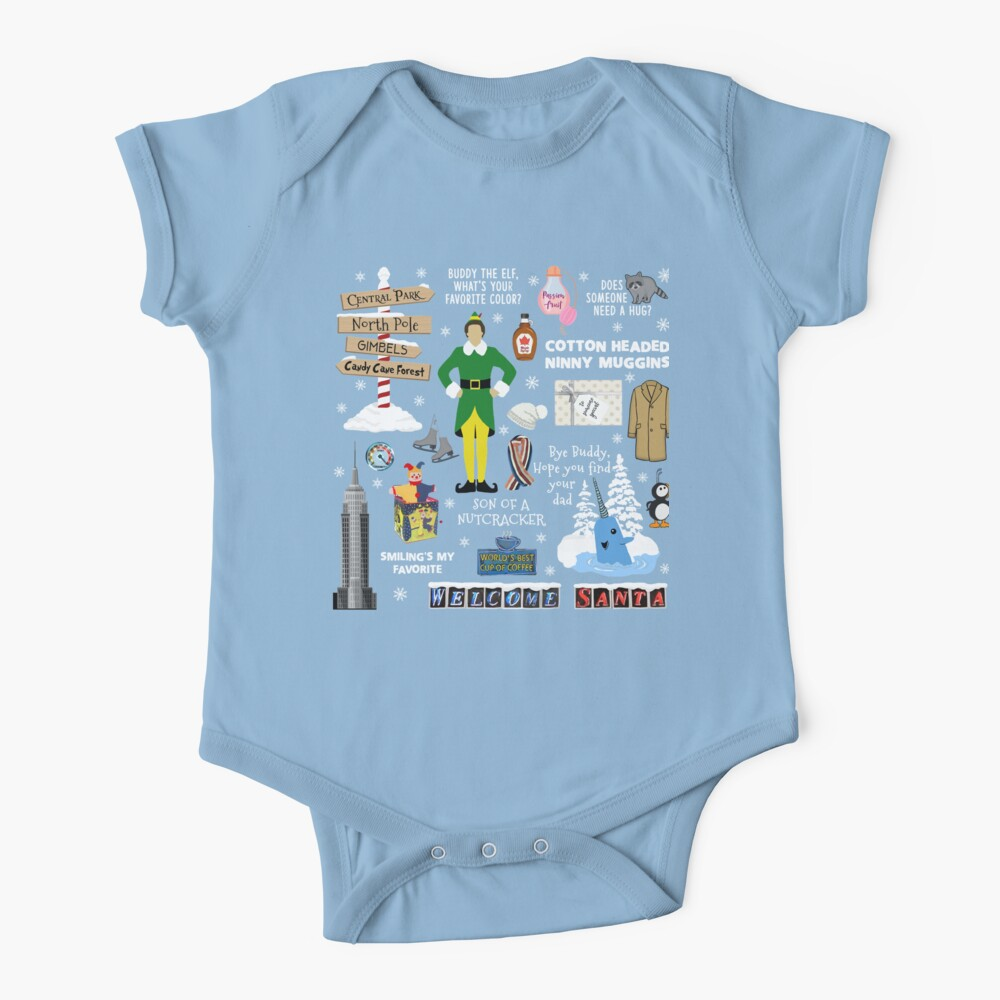 Buddy the Elf collage, Blue background Baby One-Piece