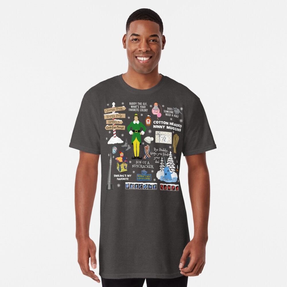 Buddy the Elf collage, Blue background Long T-Shirt