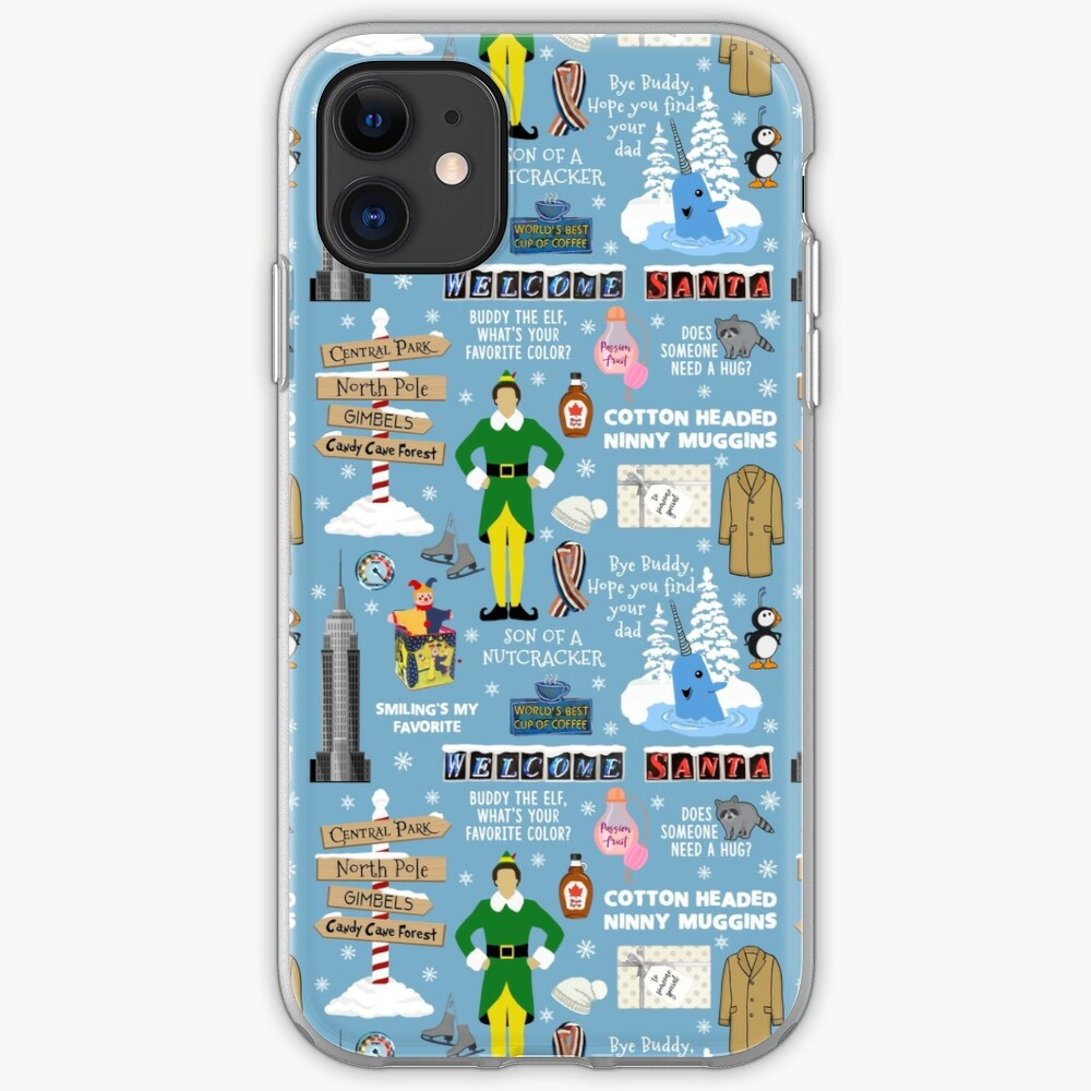 Buddy the Elf collage, Blue background iPhone Case & Cover