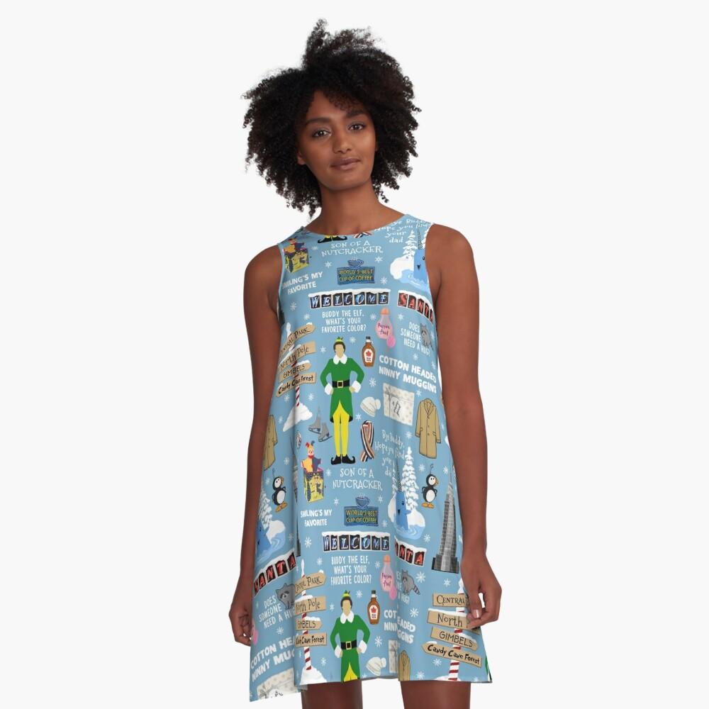Freund die Elfencollage, blauer Hintergrund A-Linien Kleid