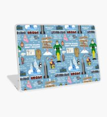 Buddy the Elf collage, Blue background Laptop Skin