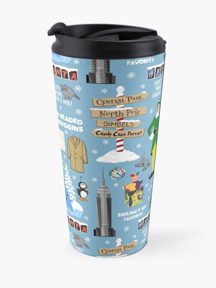 Alternate view of Buddy the Elf collage, Blue background Travel Mug