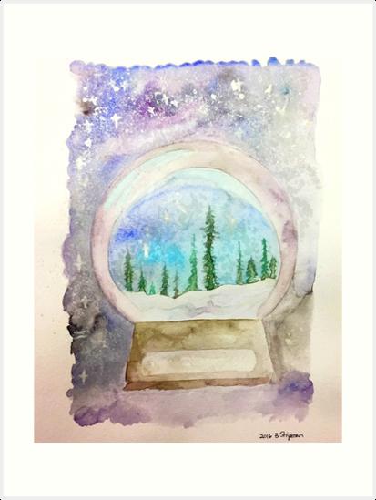 snow globe art prints by riverdaughter redbubble
