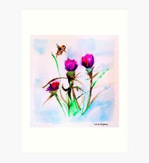 Bee Amidst the Thistle Art Print