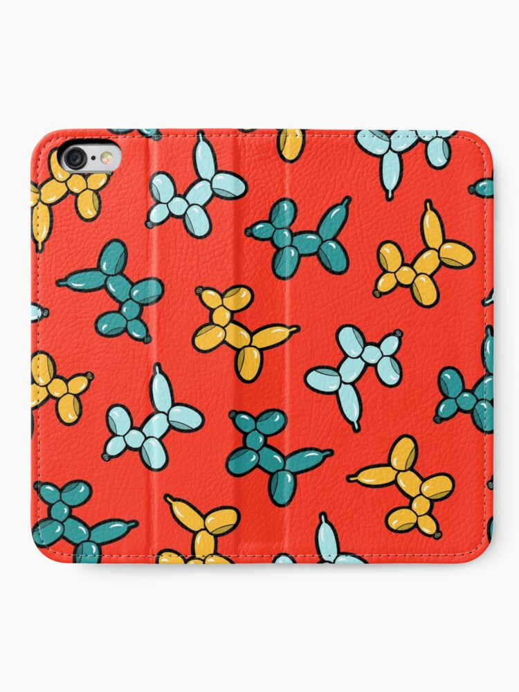 Alternate view of Balloon Animal Dogs Pattern in Red iPhone Wallet