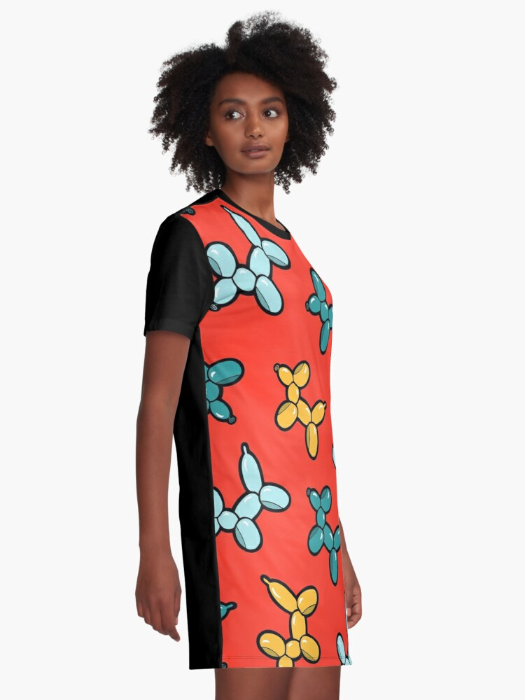 Alternate view of Balloon Animal Dogs Pattern in Red Graphic T-Shirt Dress
