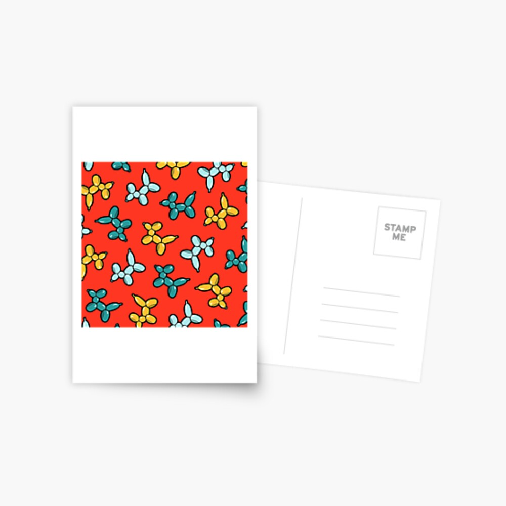 Balloon Animal Dogs Pattern in Red Postcard