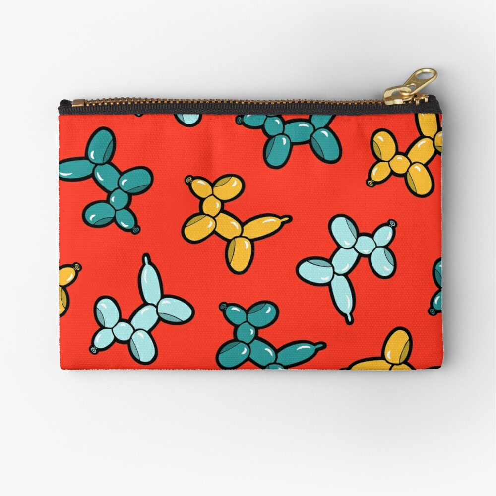 Balloon Animal Dogs Pattern in Red Zipper Pouch