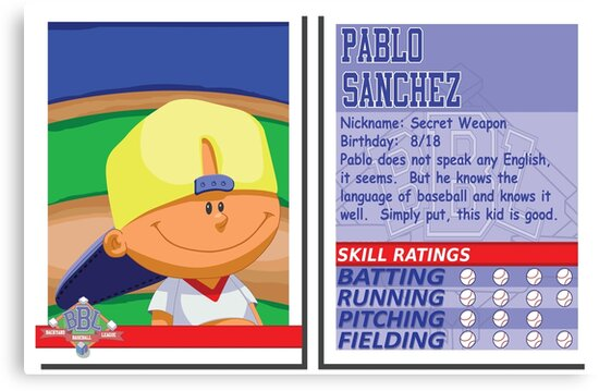 "Pablo Sanchez Backyard Sports pablo sanchez - backyard baseball stat card"" canvas printsslice"