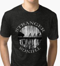 Stranger Things The Upside Down V2 Black and White Tri-blend T-Shirt