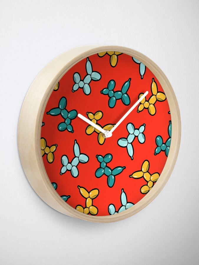 Alternate view of Balloon Animal Dogs Pattern in Red Clock