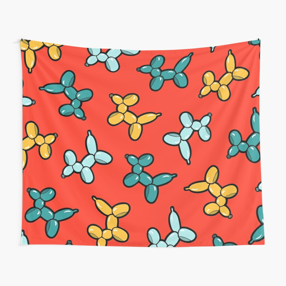 Balloon Animal Dogs Pattern in Red Wall Tapestry