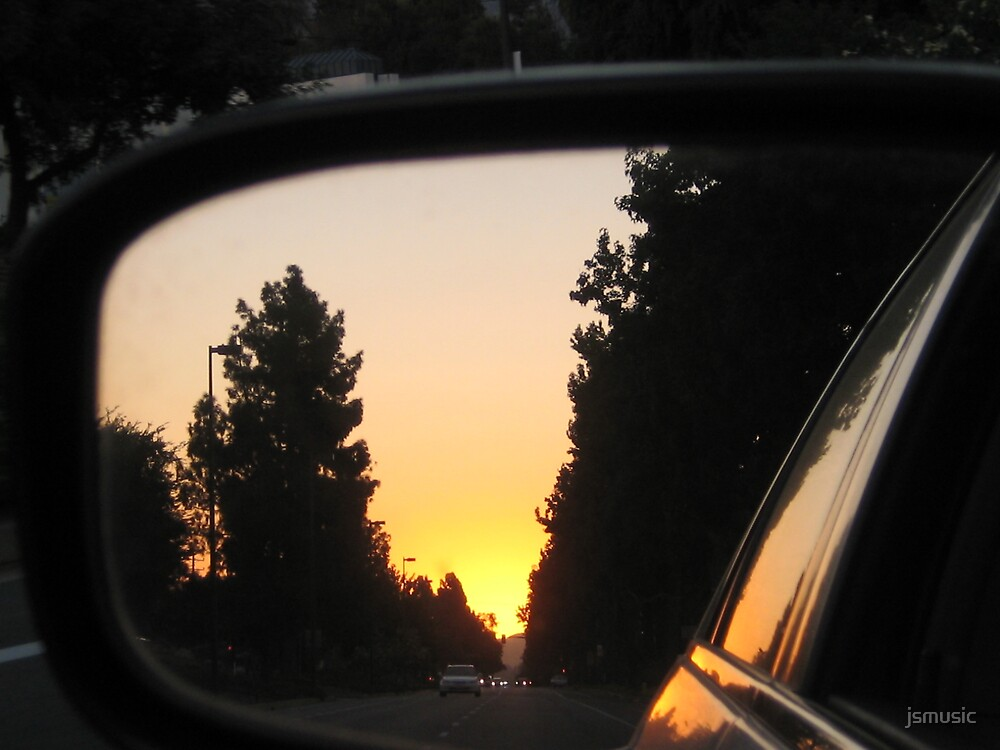 Sunset in Rearview mirror by jsmusic