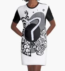 Question Mark Ink Doodle Graphic T-Shirt Dress