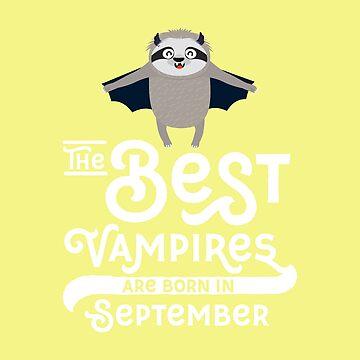 Sloth Vampire bat born in September chilling-Design by ilovecotton