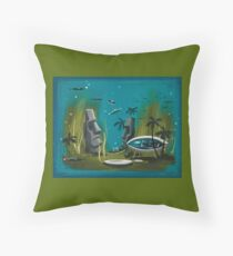 Undersea Moai Throw Pillow